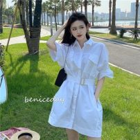 shirt White, purple, red Average size Spring 2021 cotton 31% (inclusive) - 50% (inclusive) elbow sleeve commute Medium length Polo collar Single row multi button routine Solid color 18-24 years old Straight cylinder Other / other Korean version Buttons, pockets, straps