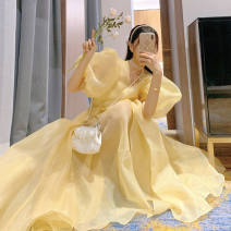 Square Dance Dress S,M,L Lemon yellow Other / other Short sleeve Solid color puff sleeve longuette female polyester fiber