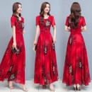 Dress Summer 2021 Red, blue M,L,XL,2XL,3XL,4XL longuette singleton  Short sleeve Crew neck 30-34 years old Length 110 81% (inclusive) - 90% (inclusive) Chiffon