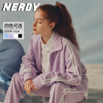 short coat Spring 2021 XS S M L Black sky purple Beige Long sleeves routine routine singleton  easy routine stand collar zipper stripe 18-24 years old NERDY 96% and above PNES21KA01 polyester fiber Polyester 100%