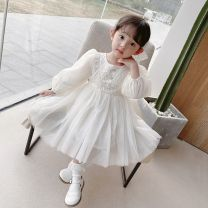 Dress Off white female Other / other 80cm,90cm,100cm,110cm,120cm Other 100% spring and autumn lady Long sleeves other other Cake skirt Class B 12 months, 18 months, 2 years old, 3 years old, 4 years old, 5 years old