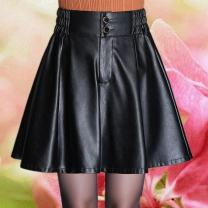 skirt Spring 2020 2'm / 27, 2'2 XL / 29, 2'5 / 4XL / 32, 2'4 / 3XL / 31, 2'3 / 2XL / 30, 2'1 / L / 28 black Short skirt commute High waist Pleated skirt Solid color Type A 25-29 years old 7816---11111 More than 95% other PU Button, stitching Korean version