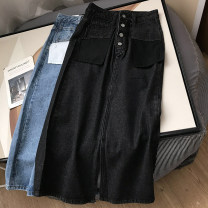 skirt Spring 2021 S,M,L,XL Blue, black Mid length dress commute High waist A-line skirt Solid color Type A 18-24 years old SG309516 30% and below Other / other other Korean version