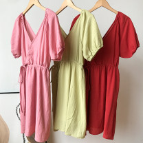 Dress Spring 2021 Pink dress, red dress, green dress Average size Short skirt Fake two pieces Short sleeve commute Crew neck Loose waist Solid color Single breasted other puff sleeve Others 18-24 years old Type H FG514343 30% and below other other