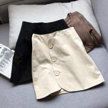 skirt Summer 2021 S,M,L Apricot, black Short skirt commute High waist skirt Solid color Type A 18-24 years old FG515054 30% and below Other / other other Korean version