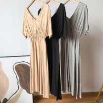 Dress Spring 2021 Light green, apricot, black Average size Mid length dress singleton  Short sleeve commute Elastic waist Solid color Socket other routine Others 18-24 years old FG158906 30% and below other