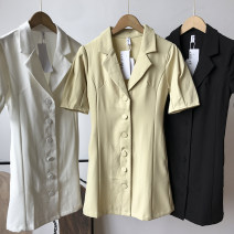 Dress Summer 2021 Apricot dress, white dress, black dress S,M,L Mid length dress singleton  Short sleeve commute tailored collar Loose waist Solid color Single breasted routine 18-24 years old Korean version pocket SG710645 30% and below