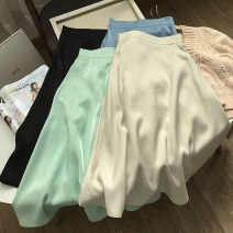 skirt Spring 2021 S,M,L Middle-skirt commute High waist A-line skirt Solid color Type A 18-24 years old 30% and below other other