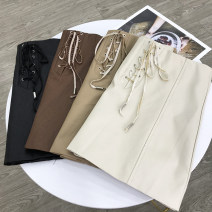 skirt Summer of 2019 S,M,L,XL Black, brown, khaki, apricot, fg205613 khaki, fg205613 black, sg404796 black, sg404796 brown, sg404922 black, sg404922 brown, sg404922 blue, sg404922 earth yellow, sg404922 apricot Short skirt commute High waist A-line skirt Solid color Type A 18-24 years old FG138925 PU