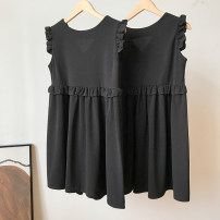 Dress Summer 2021 Black dress S,M,L,XL,2XL,3XL Two piece set Sleeveless commute V-neck Loose waist Solid color Socket routine straps 18-24 years old FG214559 30% and below other