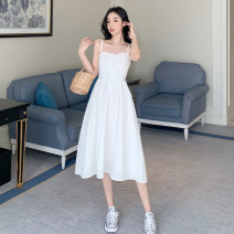 Dress Summer 2021 white S,M,L Mid length dress singleton  Sleeveless commute One word collar High waist Solid color Socket A-line skirt routine camisole Type A Other / other Korean version 31% (inclusive) - 50% (inclusive) other cotton