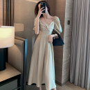 Dress Summer 2021 S,M,L,XL Mid length dress singleton  Short sleeve commute square neck High waist Solid color zipper Big swing puff sleeve Others Type A Other / other Simplicity Pleats, stitches, zippers