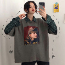 Sweater / sweater Autumn of 2019 Grey white black M L XL XXL XXXL Long sleeves routine Socket Fake two pieces routine Polo collar easy commute routine character 18-24 years old 51% (inclusive) - 70% (inclusive) Korean version polyester fiber Pure e-commerce (online only)