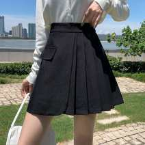 skirt Autumn 2020 S,M,L,XL Grey, black, khaki Short skirt Versatile High waist A-line skirt Solid color Type A 71% (inclusive) - 80% (inclusive) fold