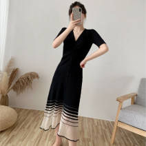 Dress Summer 2016 Black, apricot S suggests 80-95 Jin, m suggests 95-110 Jin, l suggests 110-120 Jin, XL suggests 120-135 Jin longuette singleton  Short sleeve commute V-neck Big swing routine Others 18-24 years old Pleating, mesh, solid 31% (inclusive) - 50% (inclusive) knitting other