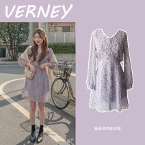 Dress Autumn of 2019 Purple, yellow S,M,L,XL Short skirt singleton  Long sleeves commute V-neck High waist Broken flowers Three buttons A-line skirt other Others 18-24 years old Type A Other / other Korean version Ruffle, fold, lace, bandage, print Chiffon