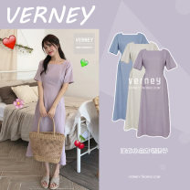 Dress Summer 2020 Apricot, violet, blue S,M,L,XL Mid length dress singleton  Short sleeve commute square neck High waist Solid color zipper A-line skirt routine Others 18-24 years old Type A Retro