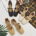 Sandals 35,37,39,36,38 Black, khaki, beige PU Other / other Baotou Thick heel Middle heel (3-5cm) Summer of 2018 Flat buckle Korean version Solid color Adhesive shoes rubber daily Bag heel Buckle, shallow mouth, thick heel, thin strap combination Low Gang Lateral space PU PU Cool boots Shaving