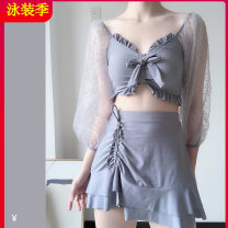 Split swimsuit Tagkita / she and others Light grey, black S,M,L,XL,XXL Skirt split swimsuit With chest pad without steel support Fairy fan female