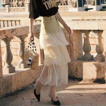 skirt Winter 2016 S,M,L Black stock, beige stock Mid length dress commute High waist Cake skirt Gauze