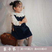 Dress dark blue female 80cm,90cm,100cm,110cm,120cm,130cm,140cm Cotton 100% spring and autumn Korean version Strapless skirt Solid color Pure cotton (100% cotton content) A-line skirt Class A 2 years old, 3 years old, 4 years old, 5 years old, 6 years old, 7 years old, 8 years old Chinese Mainland