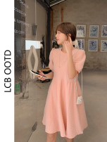 Dress Summer 2021 White, pink Average size Middle-skirt singleton  Short sleeve commute Crew neck High waist Solid color Socket A-line skirt puff sleeve 18-24 years old Type A Korean version 81% (inclusive) - 90% (inclusive) polyester fiber