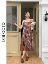 Dress Summer 2021 printing S,M,L Mid length dress singleton  Sleeveless commute High waist Irregular skirt camisole 18-24 years old Type A Korean version 81% (inclusive) - 90% (inclusive)