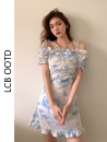 Dress Summer 2021 Picture color S,M,L,XL Short skirt singleton  Short sleeve commute One word collar High waist Decor A-line skirt raglan sleeve camisole 18-24 years old Type A Korean version 31% (inclusive) - 50% (inclusive) cotton