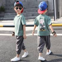 suit Other / other The recommended height is about 100cm for Size 110, 110cm for Size 120, 120cm for Size 130, 130cm for size 140, 140cm for size 150 and 150cm for size 160 male summer Korean version Short sleeve + pants 2 pieces routine There are models in the real shooting Socket nothing cotton