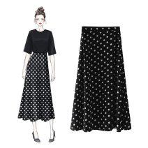 skirt Summer of 2019 XS [85-95 Jin], s [96-105 Jin], m [106-115 Jin], l [116-125 Jin], XL [126-135 Jin] Black (elastic waist), black (zipper), Daisy (zipper), red (elastic waist), off white (elastic waist), black T-shirt, red and black three piece set (elastic waist) Mid length dress Versatile Dot