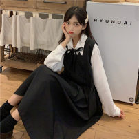 Dress Autumn 2020 Strap skirt piece (high quality version), bow shirt piece (high quality version) Average size Mid length dress singleton  Sleeveless Sweet V-neck High waist Solid color Socket A-line skirt routine Others 18-24 years old Type A eight point one three solar system
