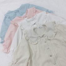 Lace / Chiffon Summer of 2019 Apricot, white, blue, pink Average size Short sleeve Sweet Cardigan singleton  easy Regular Doll Collar Solid color routine 18-24 years old Other / other Six point four solar system