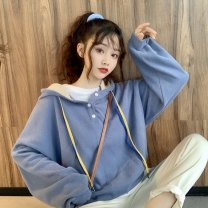 Sweater / sweater Autumn 2020 Blue (premium), Beixing (premium) Average size Long sleeves routine Socket singleton  routine Hood easy Sweet routine Solid color 18-24 years old 31% (inclusive) - 50% (inclusive) Other / other eight point one three solar system