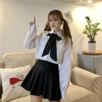 Fashion suit Autumn 2020 S. M, l, average size White shirt with tie (high quality version), black skirt (single piece) (high quality version) 18-25 years old Other / other Eight point seven 81% (inclusive) - 90% (inclusive) polyester fiber