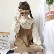 Dress Autumn of 2019 Graph color Average size Mid length dress Fake two pieces Long sleeves Sweet Doll Collar High waist Solid color Socket A-line skirt routine Others 18-24 years old Type A Other / other eight point one zero solar system