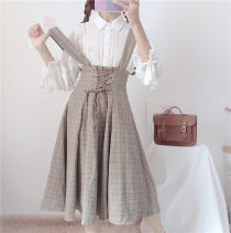 Fashion suit Autumn 2020 Average size White shirt with plaid skirt 18-25 years old Other / other eight point one seven 30% and below