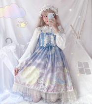 Dress Autumn of 2019 Average size Mid length dress Two piece set Sleeveless Sweet One word collar High waist Solid color Socket A-line skirt other Others 18-24 years old Type A Other / other solar system