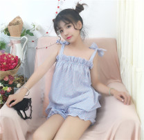 Pajamas / housewear set female Other / other Average size Pink blue, pink green other Sweet Leisure home summer routine lattice shorts youth More than 95% Four point six