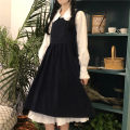Dress Autumn 2020 Strap skirt (high quality version), shirt skirt (high quality version) Average size Mid length dress singleton  Sweet Doll Collar High waist Solid color Socket A-line skirt 18-24 years old Type A eight point two nine 81% (inclusive) - 90% (inclusive) solar system