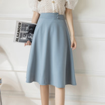 skirt Summer 2021 S,M,L,XL,2XL Apricot, blue, black Mid length dress commute High waist A-line skirt Solid color Type A 18-24 years old Button, 3D, bright line decoration, resin fixation, rust treatment Korean version