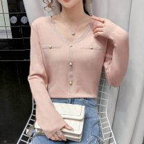 Wool knitwear Autumn 2020 S,M,L,XL White, blue, black, pink Long sleeves singleton  Socket other 31% (inclusive) - 50% (inclusive) Regular commute easy V-neck Solid color Socket Korean version 18-24 years old Jacquard, three-dimensional decoration, pocket, bead binding, pleating, pleating