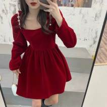 Dress Spring 2021 Red, black S, M Middle-skirt singleton  Long sleeves commute square neck High waist Solid color Socket Big swing routine 18-24 years old Type X Korean version 3D, resin fixation, rust treatment, random needle repair, aging