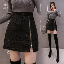 skirt Winter 2020 S,M,L,XL black Short skirt commute High waist A-line skirt Solid color Type A 18-24 years old Zipper, 3D, pasted cloth, open line decoration, resin fixation, rust treatment Korean version