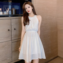 Dress Summer 2021 White, red S,M,L,XL Middle-skirt singleton  Sleeveless commute Crew neck Elastic waist Solid color zipper A-line skirt camisole 18-24 years old Type A Korean version fungus , fold , chain , Embroidery , Sticking cloth