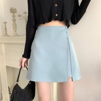 skirt Summer 2021 S,M,L,XL Apricot, black, pink blue, skin pink Short skirt commute High waist A-line skirt Solid color 18-24 years old Other / other Button, zipper, stitching, asymmetry, bead Korean version