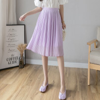 skirt Summer 2020 S,M,L,XL White, purple, black, grayish blue Middle-skirt commute High waist Pleated skirt Solid color Type A 18-24 years old Fold, Auricularia auricula, thread decoration, 3D, mesh, three-dimensional decoration Korean version