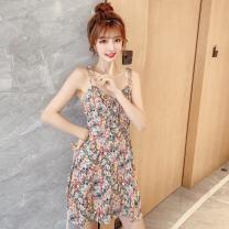 Dress Summer 2021 S,M,L,XL Short skirt singleton  Sleeveless commute V-neck middle-waisted Broken flowers Socket A-line skirt 18-24 years old Type A Korean version