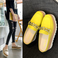 slipper 35 36 37 38 39 40 Flat bottom High heel (5-8cm) PU Summer of 2019 Baotou rubber daily Korean version Adhesive shoes Youth (18-40 years old) Solid color PU PU Shaving Pure e-commerce (online only)