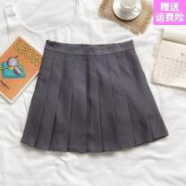 skirt Spring 2020 S-,XL,L 8858 blue, 8858 black, 888 pink, 8858 orange, 8858 apricot, 888 gray, 888 black, 888 white, 8858 gray Short skirt Sweet High waist Pleated skirt lattice Type A 18-24 years old Other / other Pleated, zipper