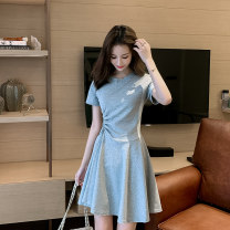 Dress Summer 2020 Grey black S M L XL Short skirt singleton  Short sleeve commute Crew neck High waist Solid color Socket A-line skirt routine Others 18-24 years old Type A Mianzidai Korean version Pleating More than 95% brocade other Other 100% Pure e-commerce (online only)